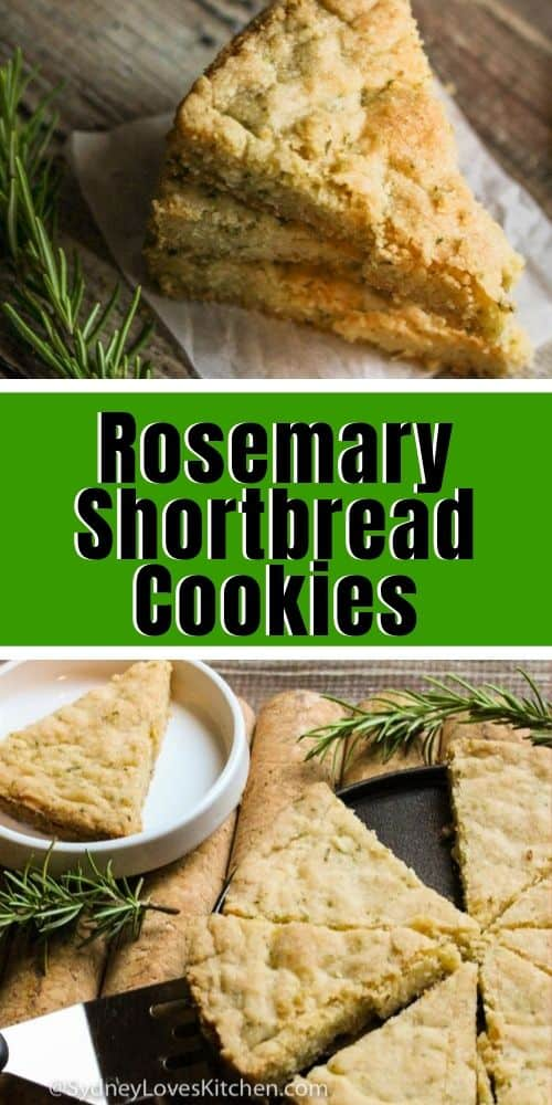 a single slice of shortbread rosemary slices. one slice is on a plate and four slices and one with a spatula underneath it
