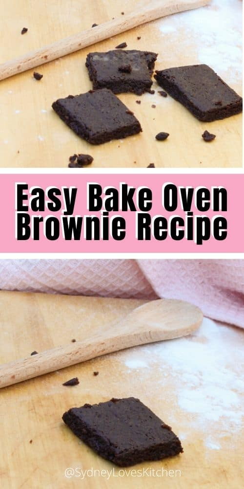 Easy Bake Oven Brownie Recipe with 3 brownies, a wooden spoon and some flour on the board, image with one brownie and a wooden spoon
