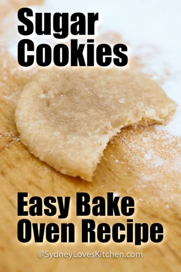 Sugar cookie Easy Bake Oven recipe with a bite out of it