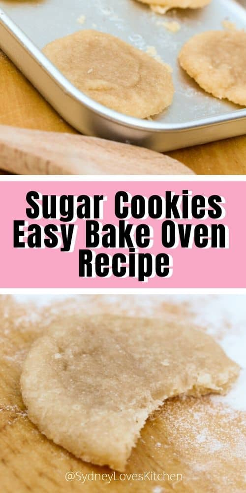 Sugar Cookies Easy Bake Oven recipe on a baking tray and an Easy Bake Oven sugar cookie with a bite out of it