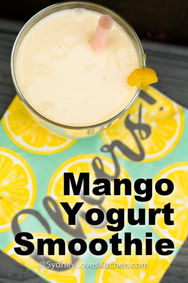 Overhead view of mango yogurt smoothie.