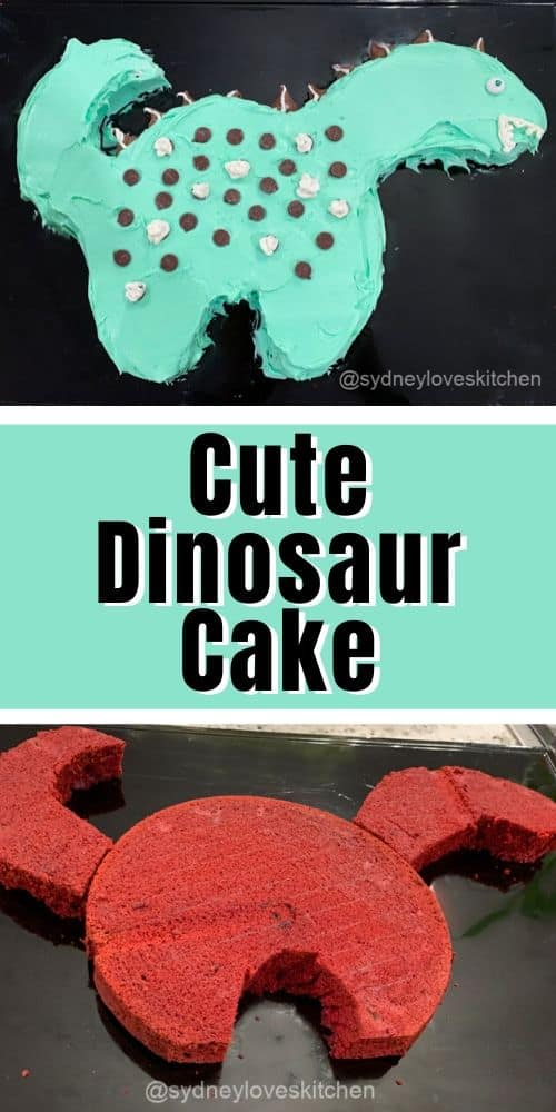 cake cut in the shape of a dinosaur, frosted and decorated cute dinosaur cake