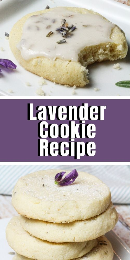 One stack of four lavender cookies