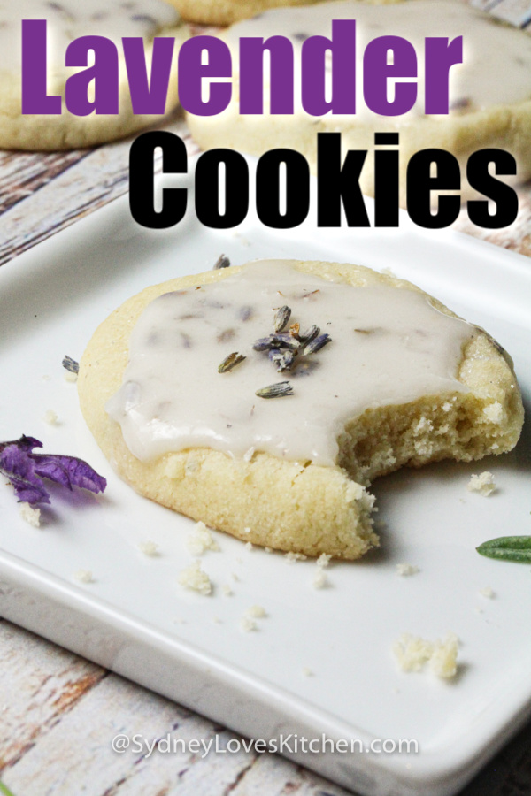 One lavender cookie with a bite taken out of it on white plate.