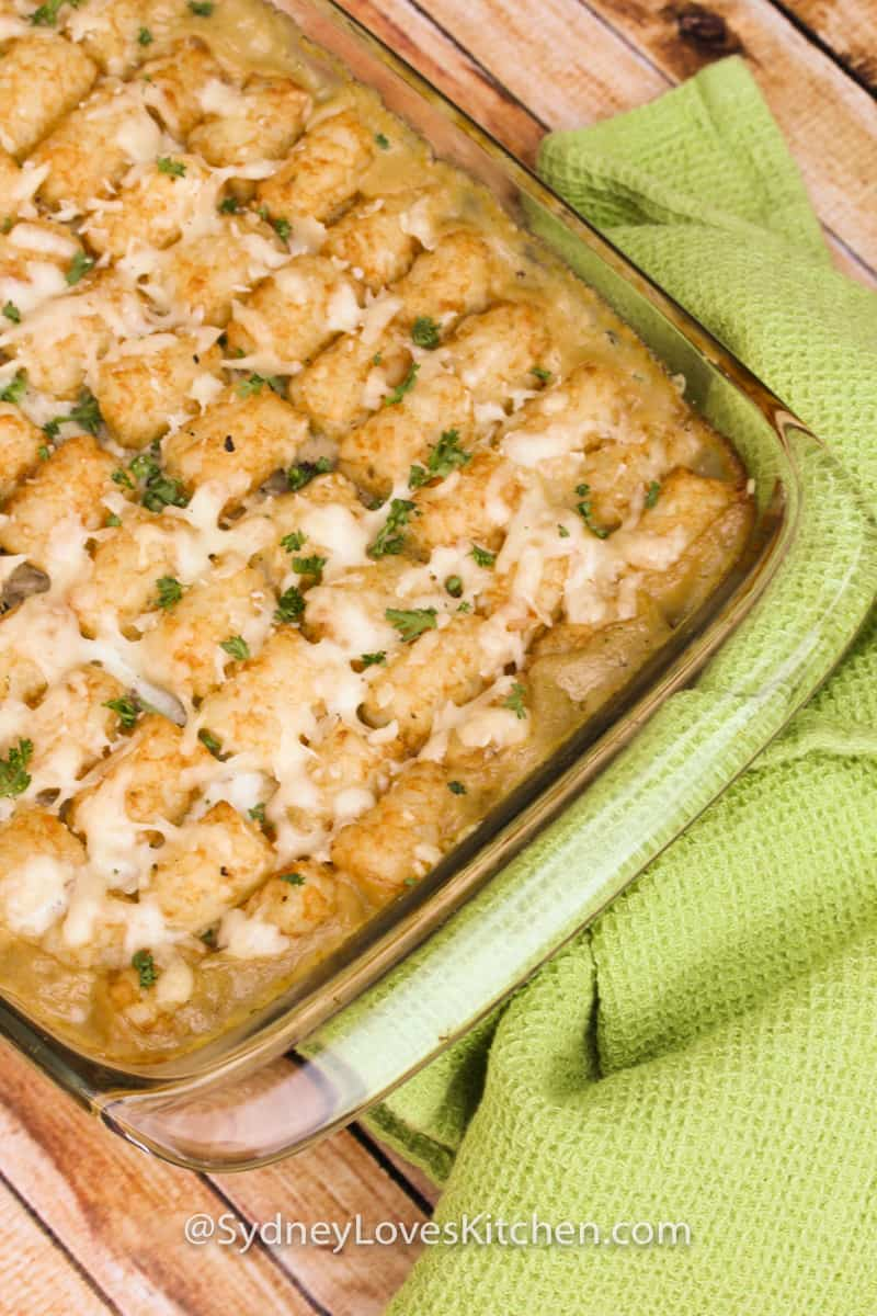 Tater tot casserole baked in an oven