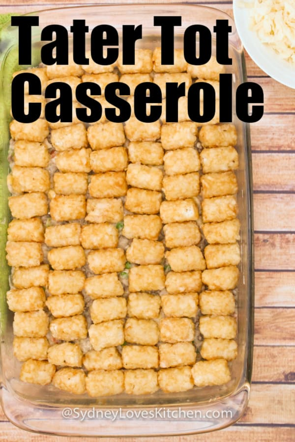 Overhead view of tater tot casserole with no cheese
