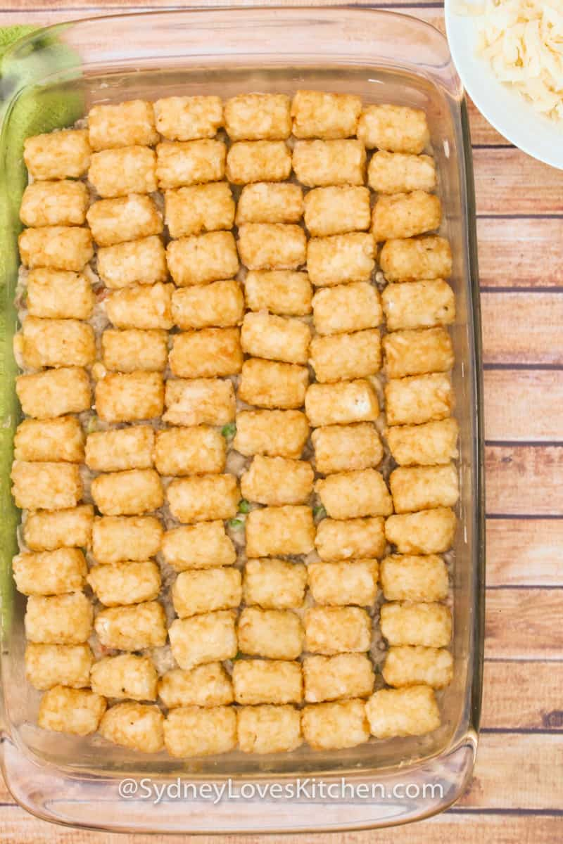 An overhead view of tater tot casserole with no cheese