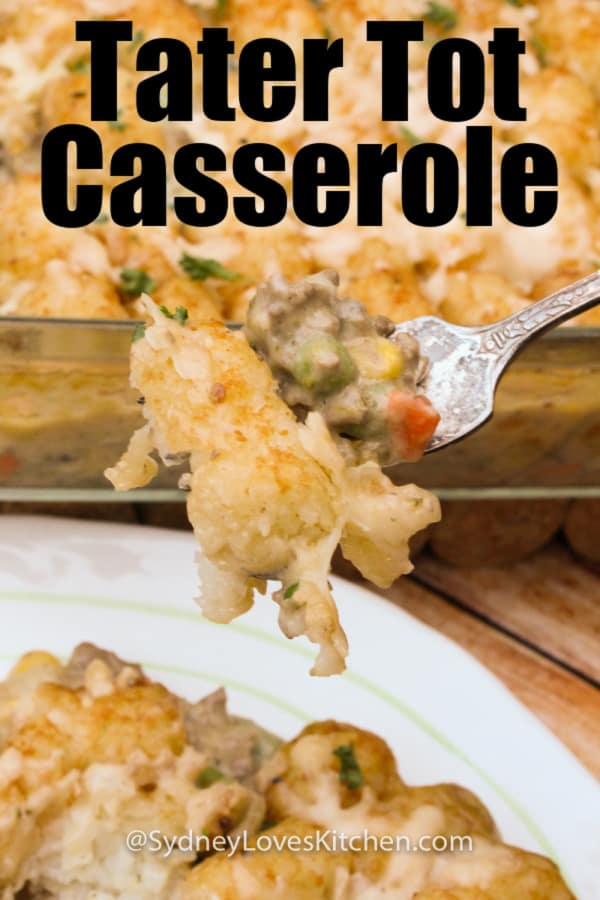 tater tot casserole on a fork