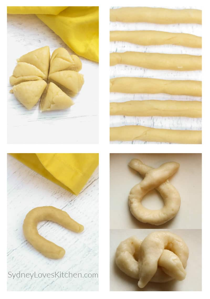 pretzel dough rolled out and twisted