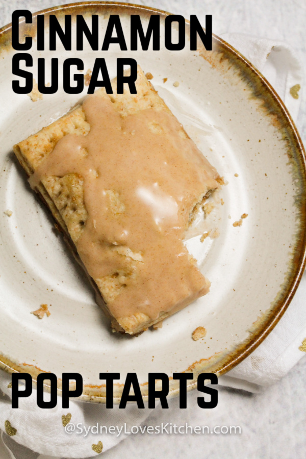 Overhead view of homemade pop tart with bite taken from it.